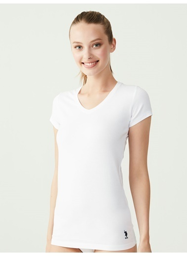U.S. Polo Assn. Kısa Kollu V-Yaka T-Shirt Beyaz